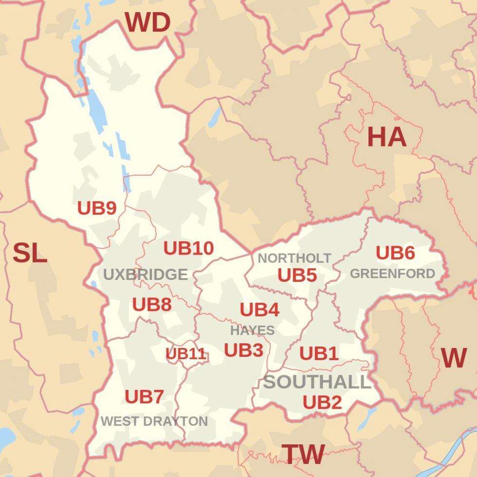 UB postcode map